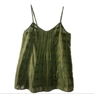 J CREW Apple Green Plaid Cami w/ Adjust. Straps H9
